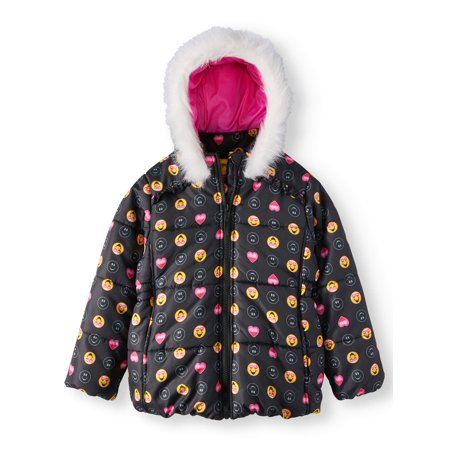 Heart Emoji Puffer Coat with Fur Trim Hood (Little Girls)](Girls Jacket)