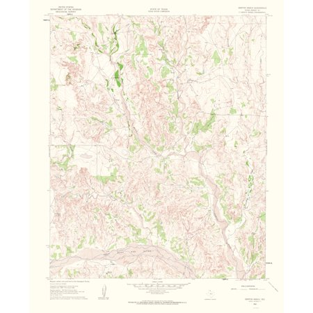 Topographical Map Print - Griffin Ranch Texas Quad - USGS 1963 - 23 x 28.26