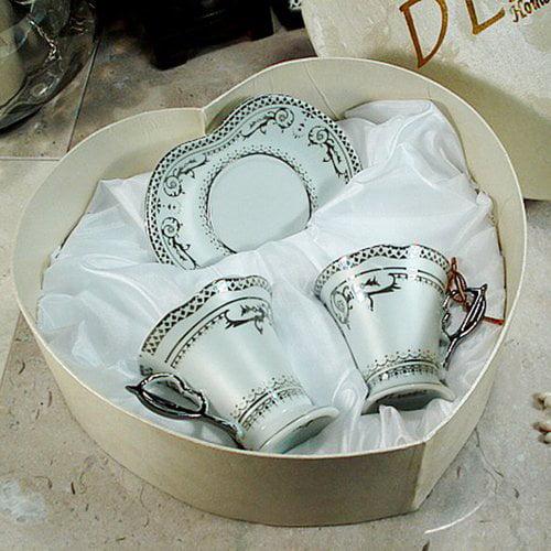 D'lusso Designs Deco Design Espresso Set in Heart Box (Set of 2)