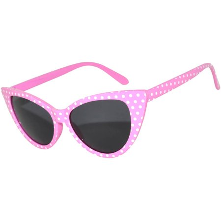 Retro Women's Cat Eye Vintage Sunglasses UV Protection Pink Dots White Frame Smoke Lens Brand OWL