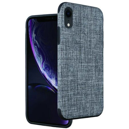 iPhone XR Case by Insten Non-Slip Fabric Hard Plastic/Soft TPU Rubber Case Cover For Apple iPhone XR, Gray - image 1 of 2