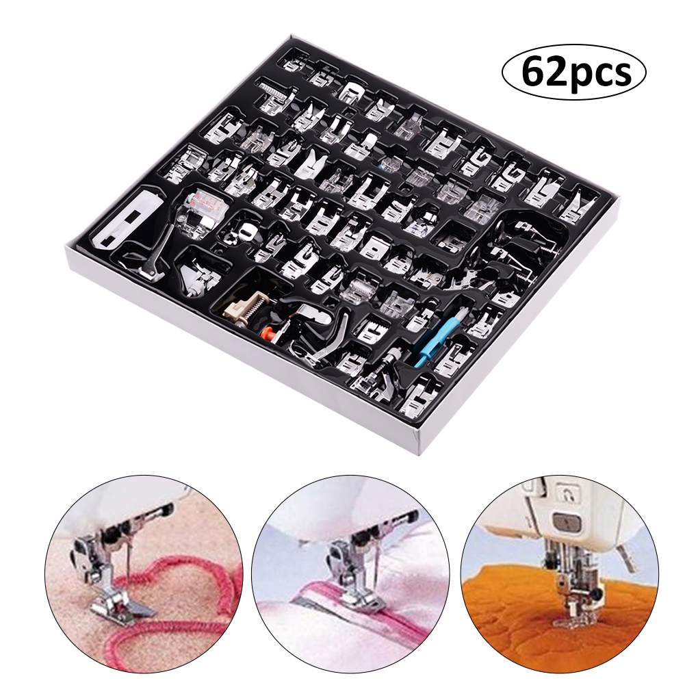 Delaman 62pcs Sewing Press Foot Kit Multifunctional Metal Sewing Machine Parts Press Foot Sew Machine Accessories Set