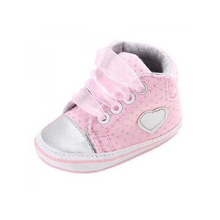 VICOODA Baby Girls Shoes Classic Lace-Up First Walkers Sneakers Polka Dots Spring Autumn Infant Toddler Shoes ()