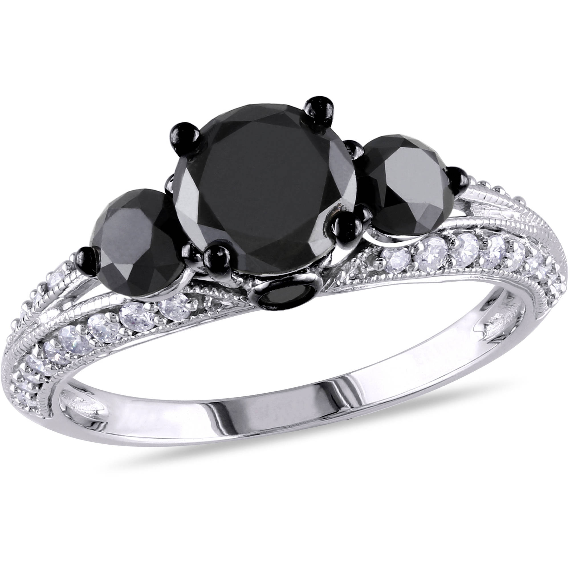Asteria 2 Carat T.W. Black and White Diamond 10kt White Gold Three-Stone Engagement Ring