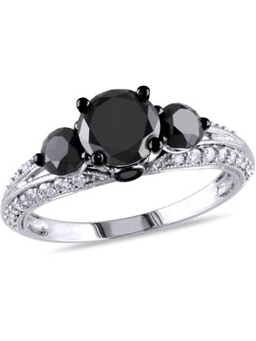 2 Carat T.W. Black and White Diamond 10kt White Gold Three-Stone Engagement Ring