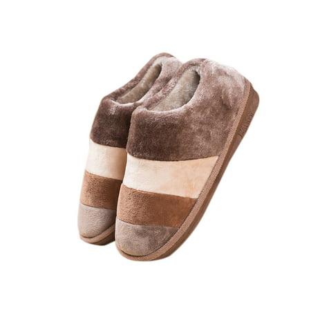 Men Women's Soft Warm Long Plush Solid PVC Foam Silent Soles Non-slip Outdoor Indoor Slippers ()