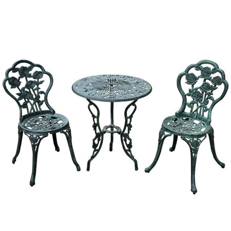 Anself 3 pc Outdoor Cast Iron Patio Furniture Antique Style Dining Chair & Table Bistro Set ()