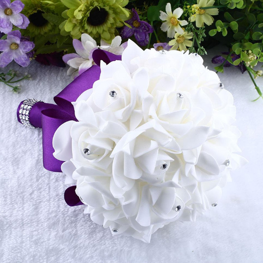 Crystal Roses Bridesmaid Wedding Bouquet Bridal Artificial Silk Flowers White