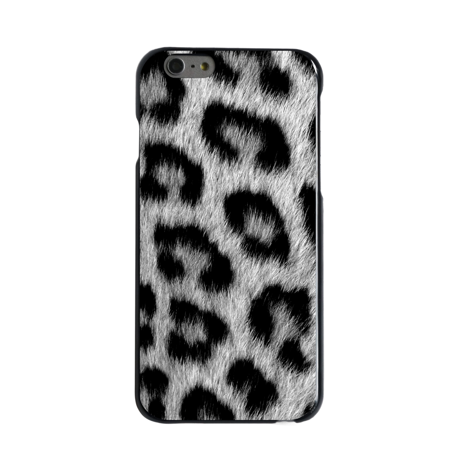 "CUSTOM Black Hard Plastic Snap-On Case for Apple iPhone 7 PLUS / 8 PLUS (5.5"" Screen) - Black White Snow Leopard Fur"