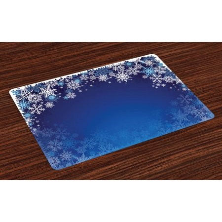 Christmas Placemats Set of 4 Ornamental White Snowflakes in Various Styles Cold Winter Season, Washable Fabric Place Mats for Dining Room Kitchen Table Decor,Navy Blue Pale Blue White, by Ambesonne ()