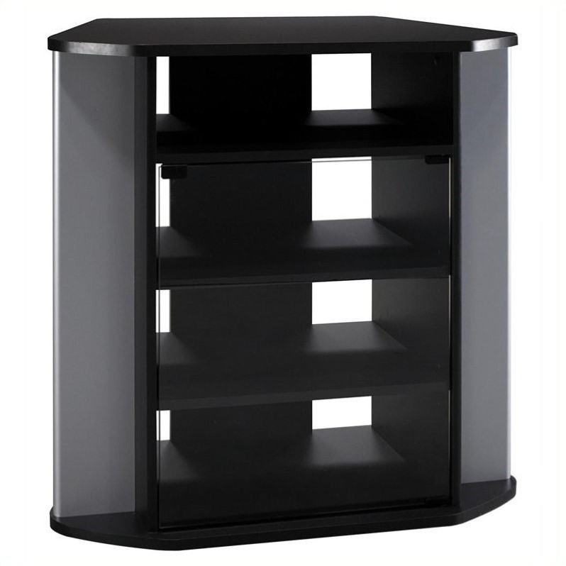 """Pemberly Row 31"""" Corner TV Stand in Black and Silver Metal"""