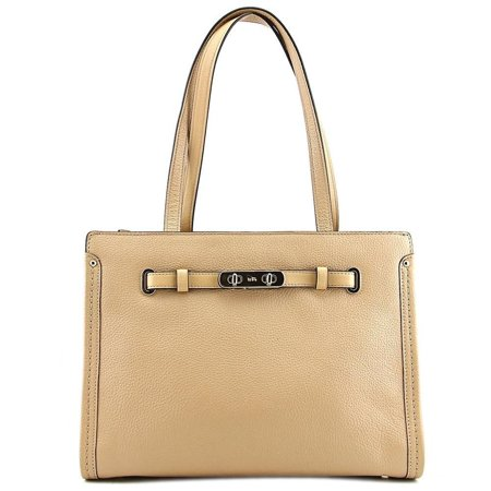 Coach Womens Polshd Pebble Leather Small Coach Swagger Tote Light Nude Satchel