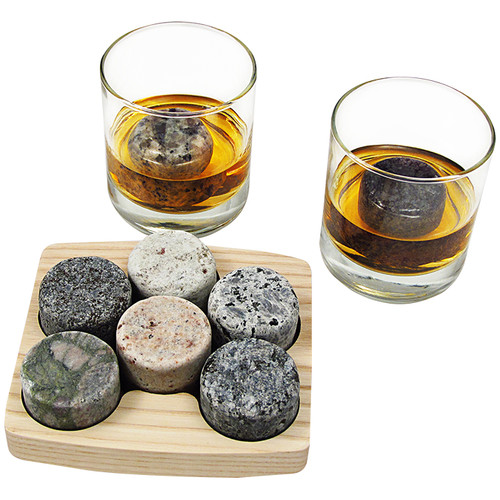 Sea Stones On The Rocks Granite Chiller with 2 Tumblers