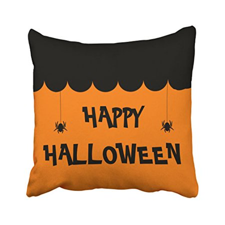 WinHome Vintage Popular Halloween Black Cat And Spider Polyester 18 x 18 Inch Square Throw Pillow Covers With Hidden Zipper Home Sofa Cushion Decorative Pillowcases