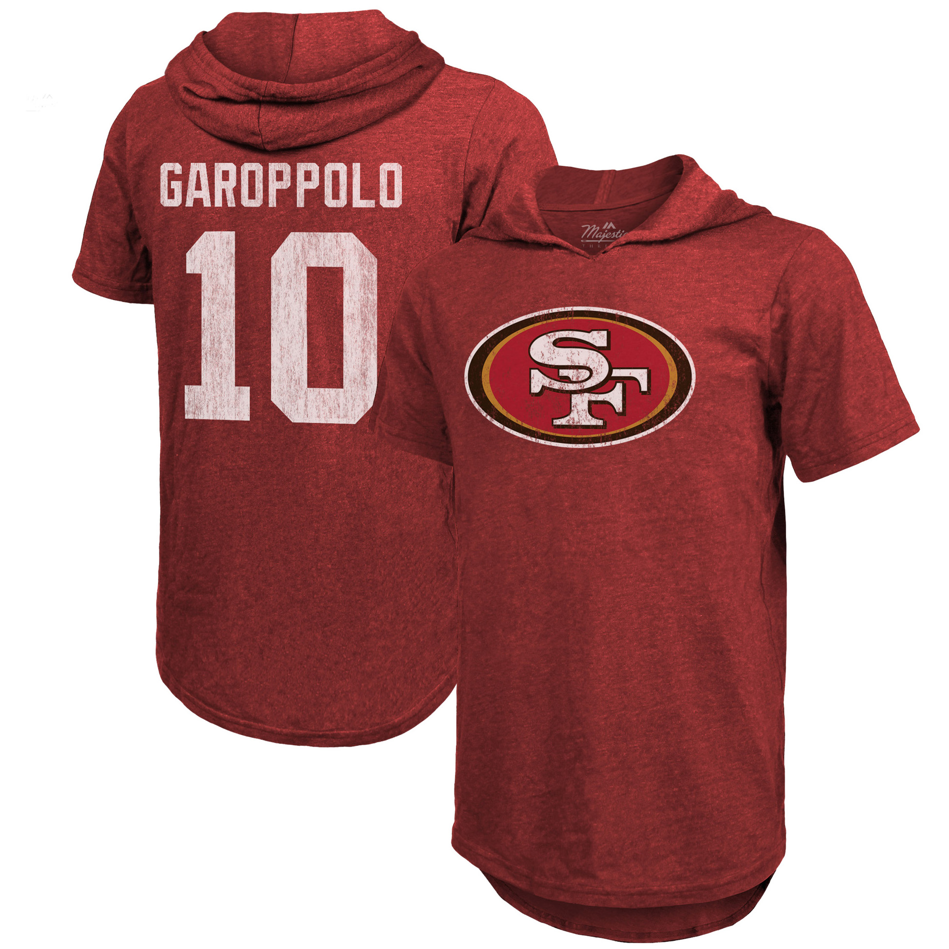 Jimmy Garoppolo San Francisco 49ers Majestic Threads Name & Number Tri-Blend Hooded T-Shirt - Scarlet