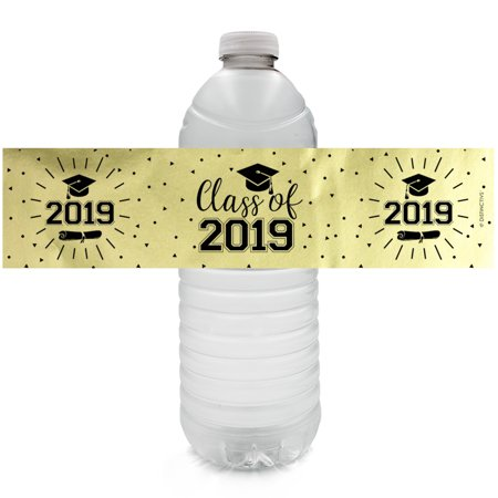 2019 Graduation Foil Water Bottle Labels 24ct - Class of 2019 Black and Gold Graduation Decoration Supplies - 24 Count - Star Wars Water Bottle Labels