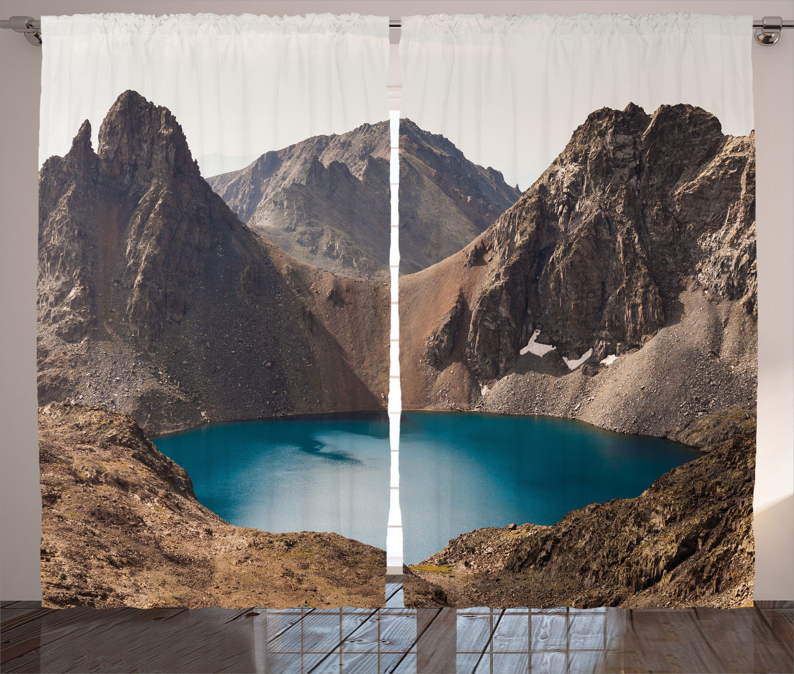 Click here to buy Lake House Decor Curtains 2 Panels Set, Secret Lake On The Rock Mountain Resort Stunning Nature Earth Landscape Peace Photo, Living Room... by Kozmos.