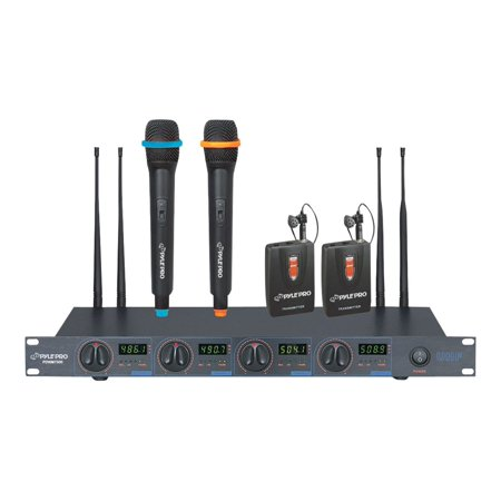 PylePro PDWM7300 UHF 4-Channel Wireless Microphone System with 2 Handheld and 2 Lavaliere Microphones