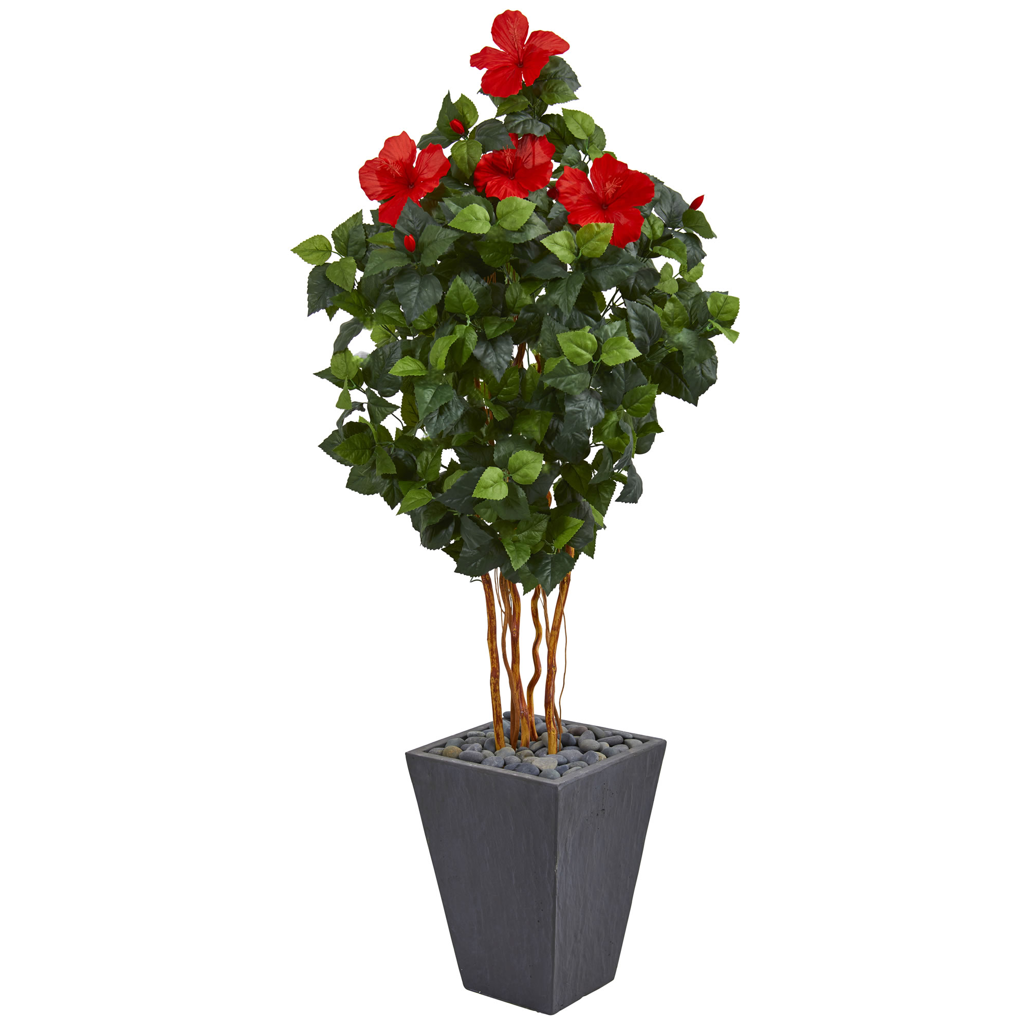 Nearly Natural 5 ft. Hibiscus Artificial Tree in Slate Planter