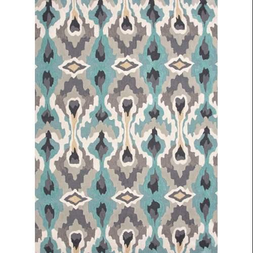 Contemporary Abstract Pattern Blue/Ivory Polyester Area Rug (3.6x5.6)