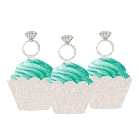 12pk Diamond Shaped Ring Wedding Bridal Shower Cupcake Toppers w. Ivory Glitter - Wedding Cupcake Wrappers