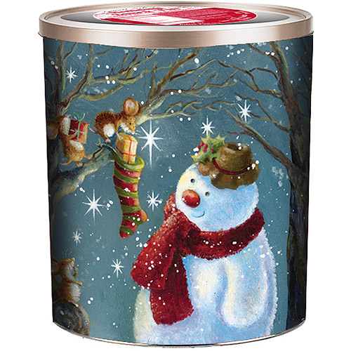 Gourmet Select Snowman and 3 Mice Holiday Embossed Snack Tin Gift, 16 oz