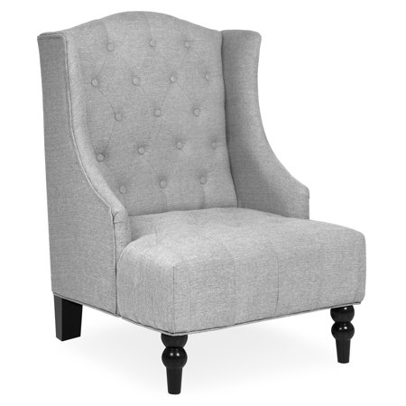 Best Choice Products Fabric Tufted French Style Tall Wingback Accent Chair Home Decor w/ Extra Wide Seat, Wooden Legs, Gray ()