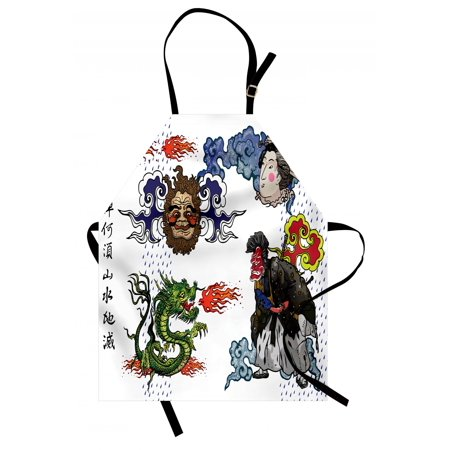 Dragon Apron Japanese Manga Figures Dragon with Fire a Man with Kimono Geisha Tribal Characters, Unisex Kitchen Bib Apron with Adjustable Neck for Cooking Baking Gardening, Green Blue, by Ambesonne