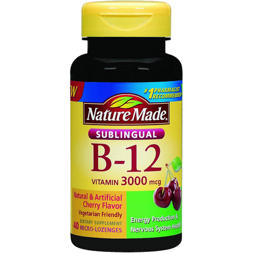 Nature Made Sublingual B-12 Dietary Supplement Cherry Flavor Micro-Lozenges, 3000mcg, 40 count
