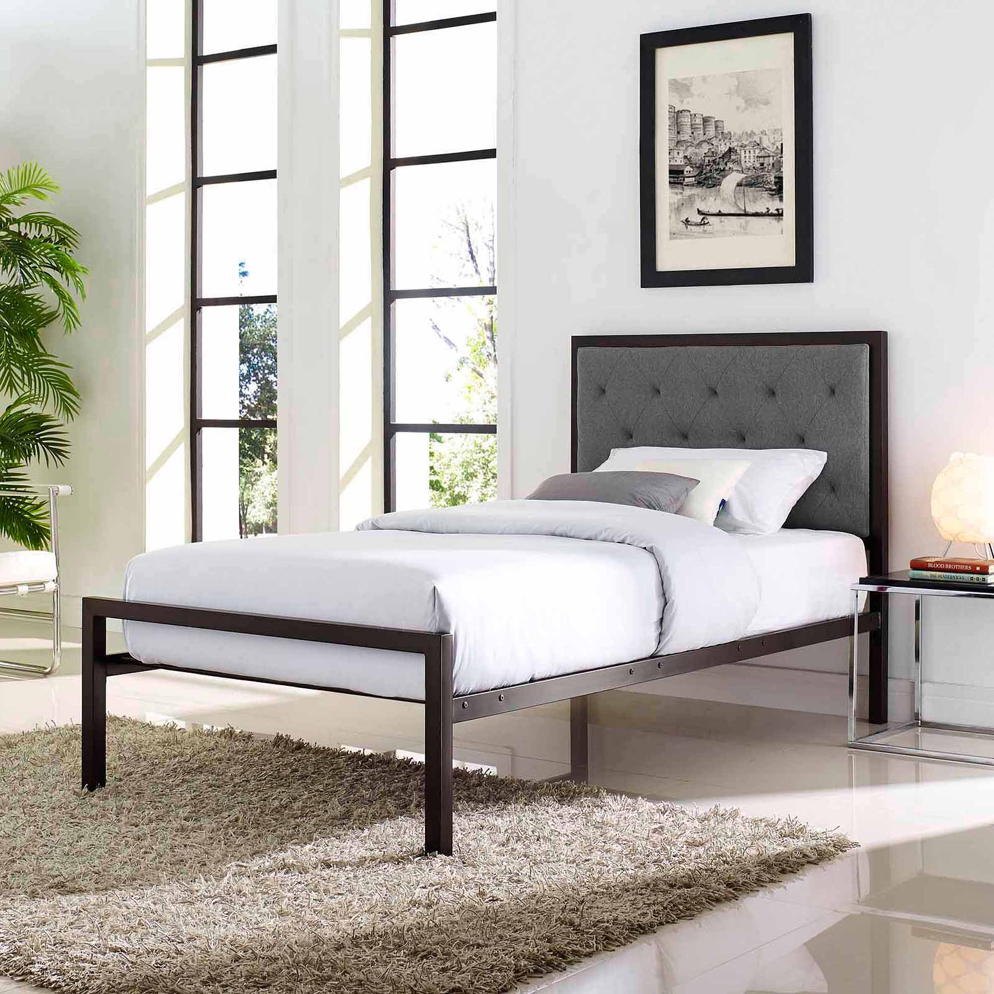 Modway Mia Twin Adult or Kids Steel Platform Bed, Multiple Colors