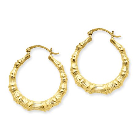 14kt Yellow Gold Polished Bamboo Hoop (Gold Polished Bamboo)