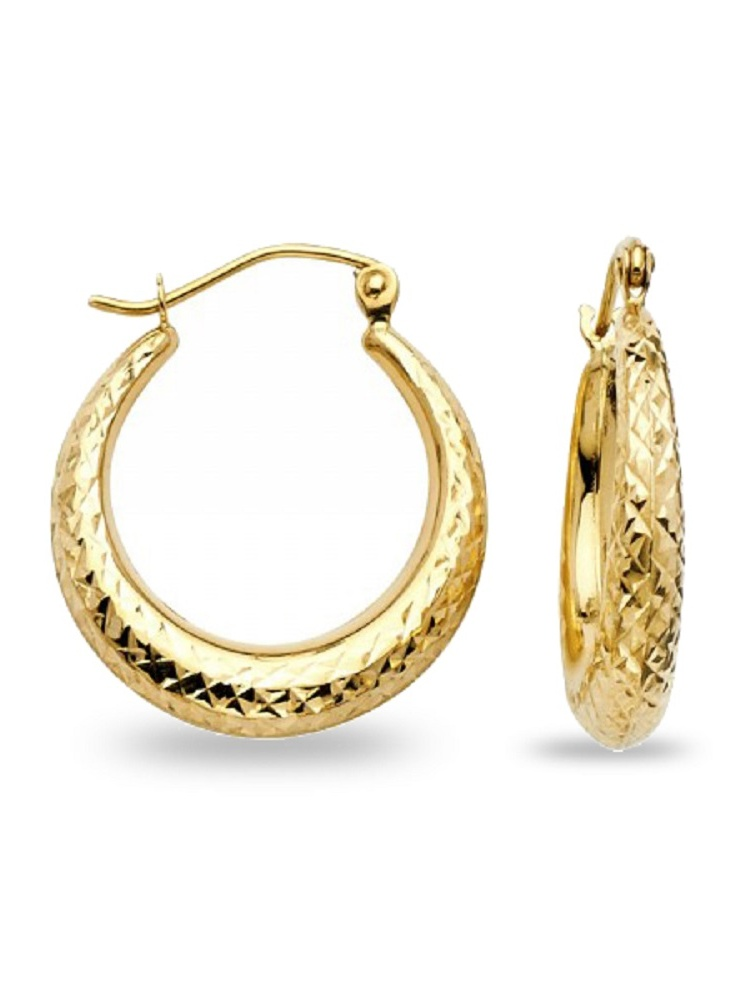 14k Yellow Gold 15-mm Diamond-cut Graduated Hoop Earrings