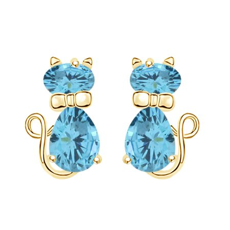 Pear & Oval Shape Simulated Aquamarine Cute Animal Kitty Cat Stud Earrings In 14k Yellow Gold Over Sterling Silver