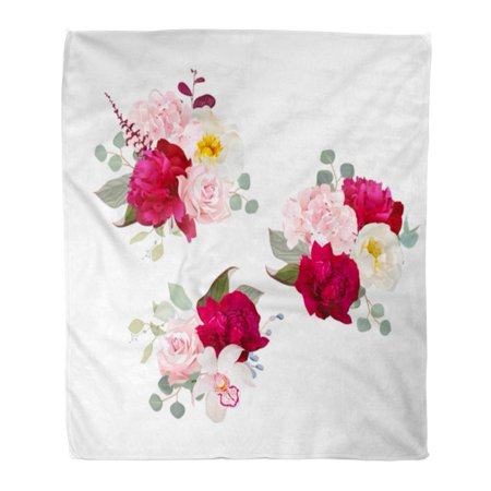JSDART Flannel Throw Blanket Bouquets of Rose Peony Green and Pink Hydrangea Orchid Soft for Bed Sofa and Couch 58x80 Inches - image 1 de 1