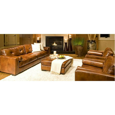 Top Grain Leather Rustic Sofa Oversized Chairs Cocktail Ottoman