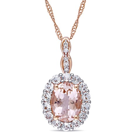 1-3/4 Carat T.G.W. Morganite, White Topaz and Diamond-Accent 14kt Rose Gold Vintage Oval Pendant, 17 Vintage Estate 14k Gold Pearl