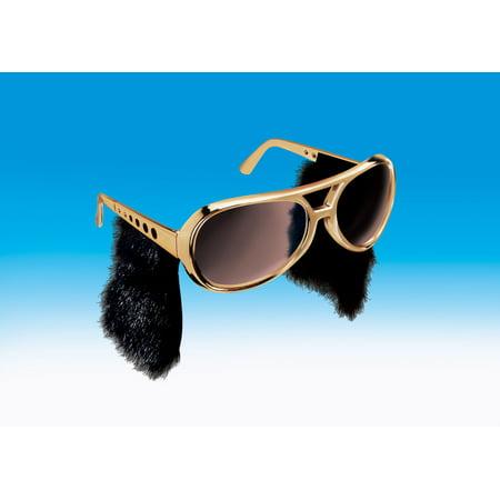Star Power Rock & Roll Elvis Sideburn Sunglasses, Gold Black, One Size