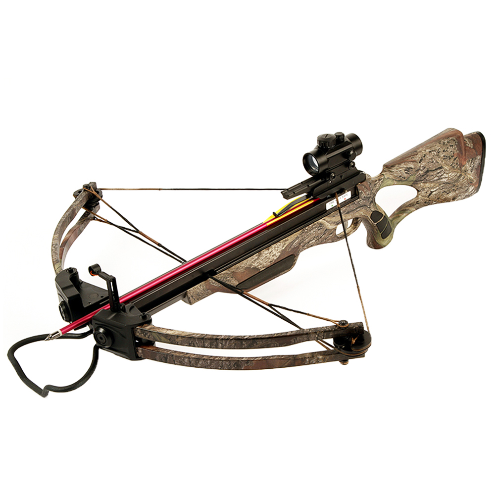 175 lb Black   Camouflage Hunting Compound Crossbow Archery Bow +Red Dot Scope +4 Arrow +Quiver +Cocking Rope & etc 150 by