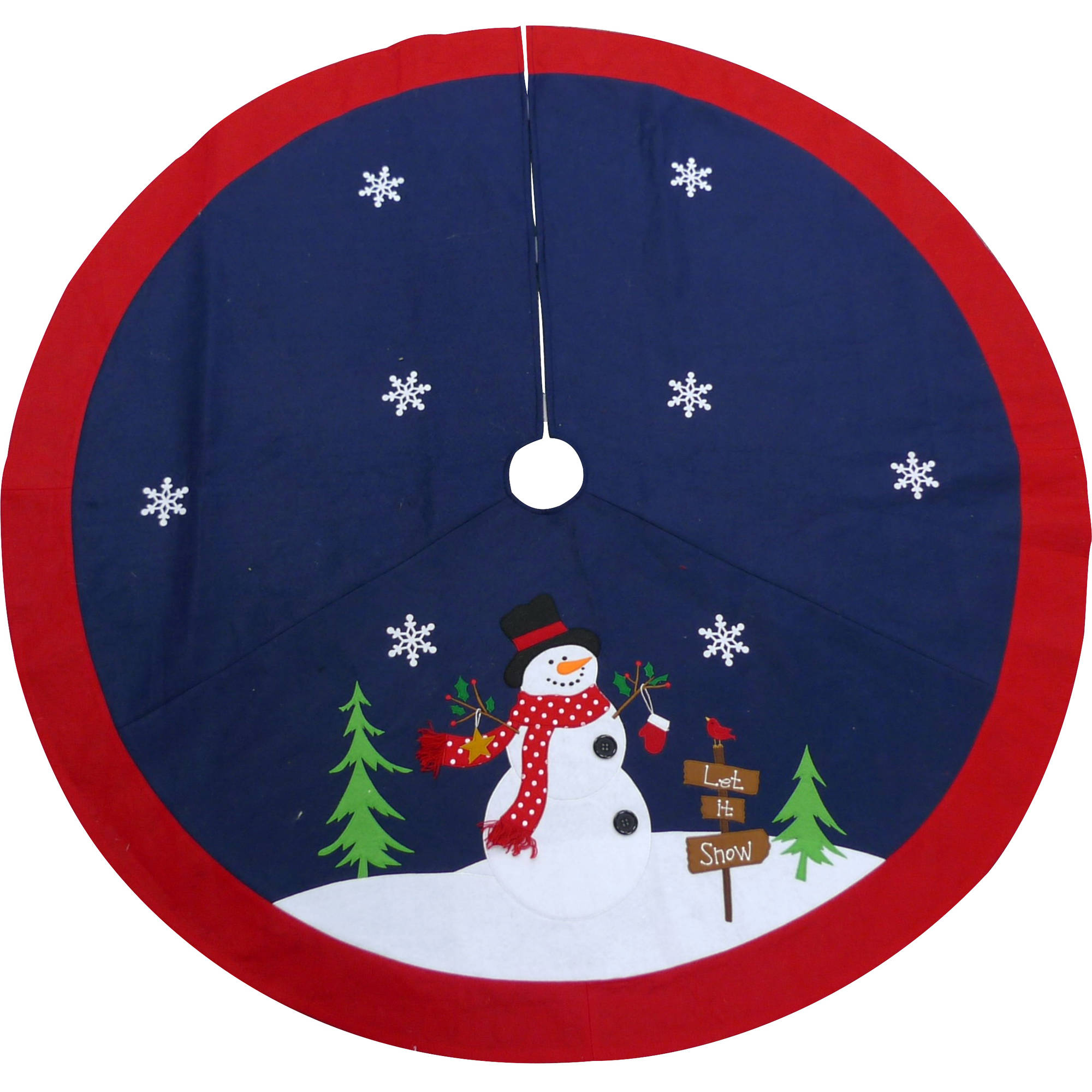 "Holiday Time Christmas Decor 48"" Snowman Felt Tree Skirt"