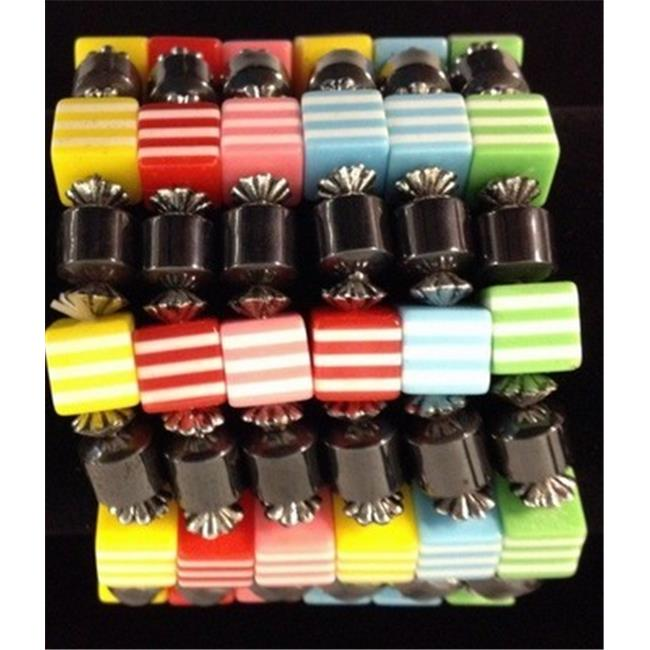 Bulk Buys Fashion Bracelet with Square Beads Magnetic - Case of 120