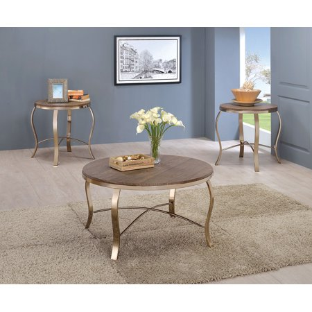 Furniture Of America Wicklow Round Oak Top Metal Base 3pc Occasional Table (American Oak Base)