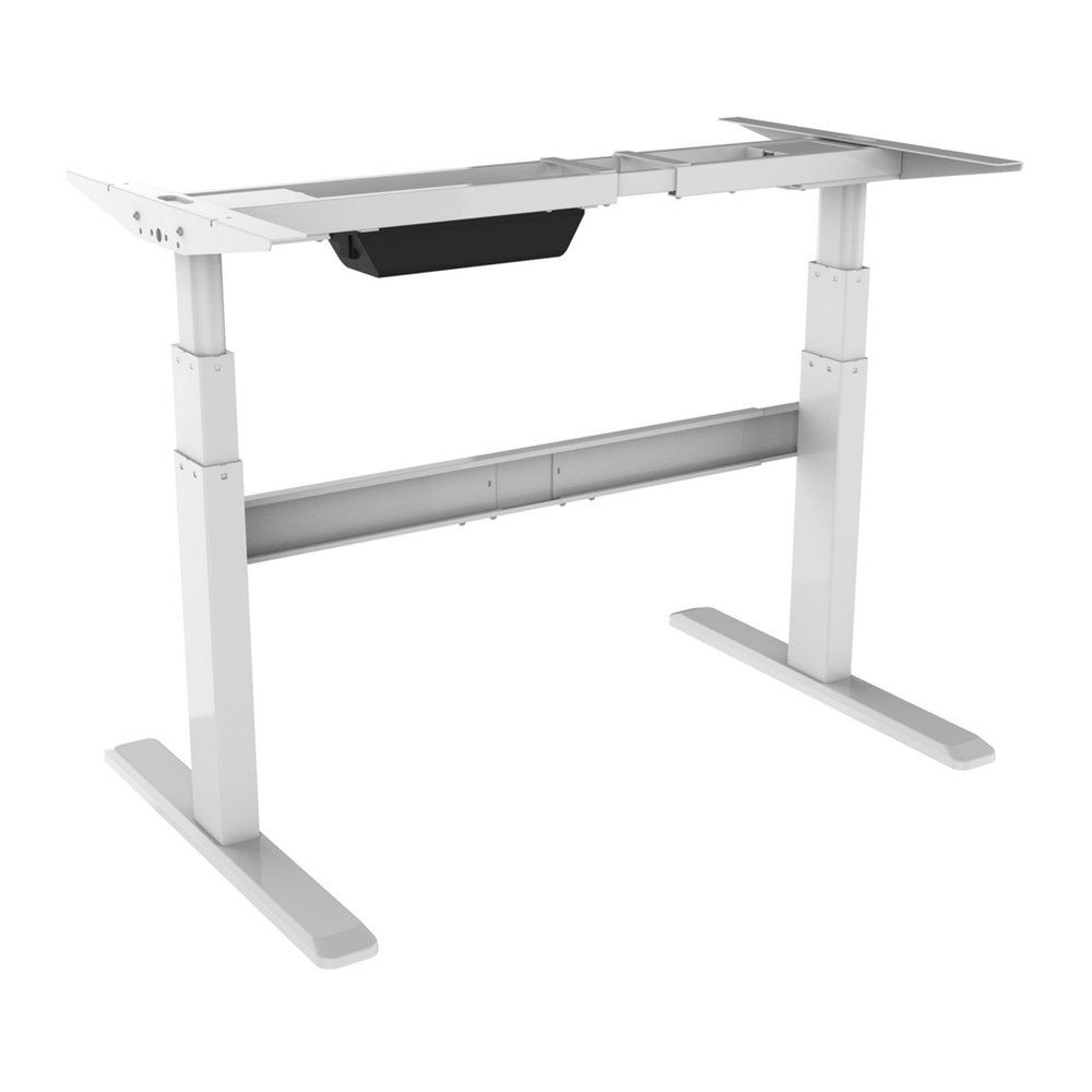 Bordeaux Dual Motor Electric Standing Desk Frame Sit Stand In White Up For Home And Office Compatible With Any Table Top