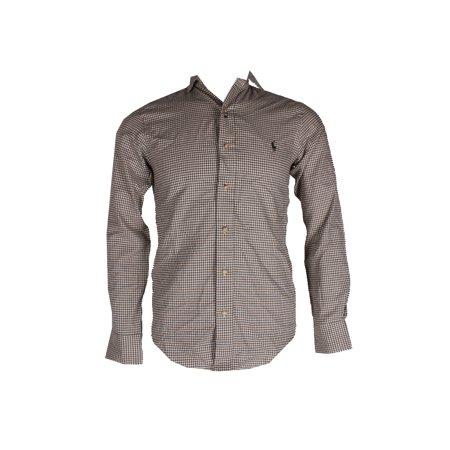 Shirt Fit Green Olive Button Ivory Plaid Standard Polo Lauren Cotton Ralph Down tsQdxBhCor