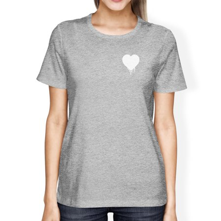 Melting Heart Womens Heather Grey T-shirt Cute Design Gifts For Her - Cute Shirt Designs