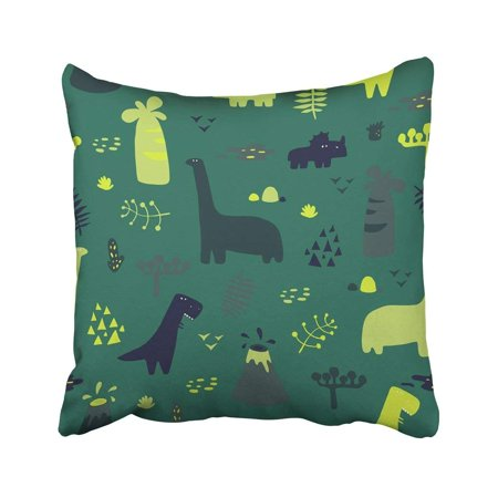 WOPOP Adorable With Funny Dinosaurs In Cartoon Ideal Party Kindergarten Preschool Pillowcase Cover 16x16 inch