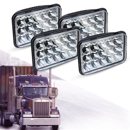 4PCS Sealed Beam 4x6 LED Headlights Rectangular H4 Plug For H4651 H4652  H4656 H4666 H6545 H4668