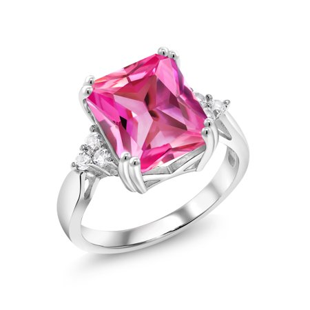 6.78 Ct Octagon Pink Created Sapphire 925 Sterling Silver (Pink Sapphire Wave)