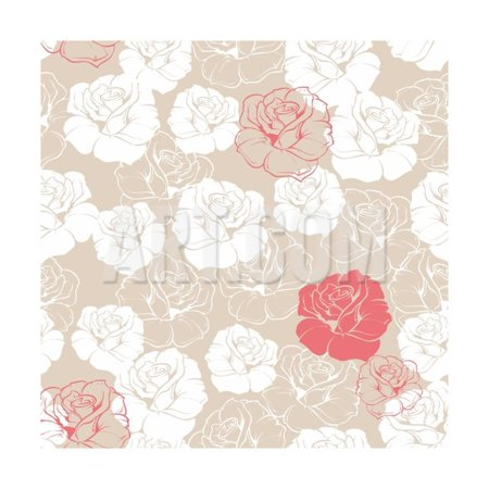 Seamless Retro Vector Floral Pattern with Classic White and Red Roses on Beige Background. Print Wall Art By IngaLinder](Retro 12 Red And White)