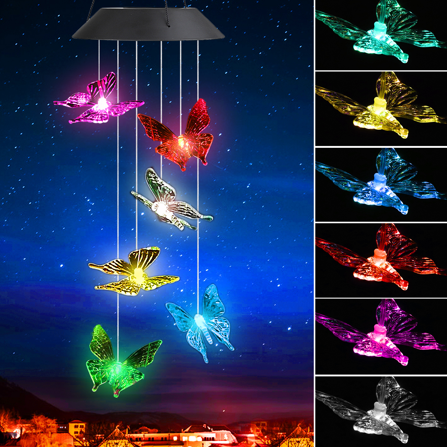 Solar Power String Lights, Color Changing LED Mobile ...