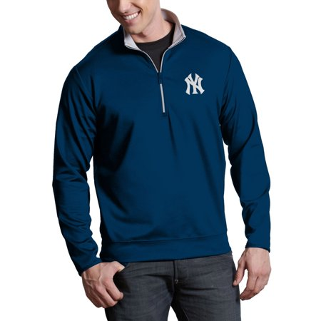 New York Yankees Antigua Leader Quarter-Zip Pullover Jacket - Navy -